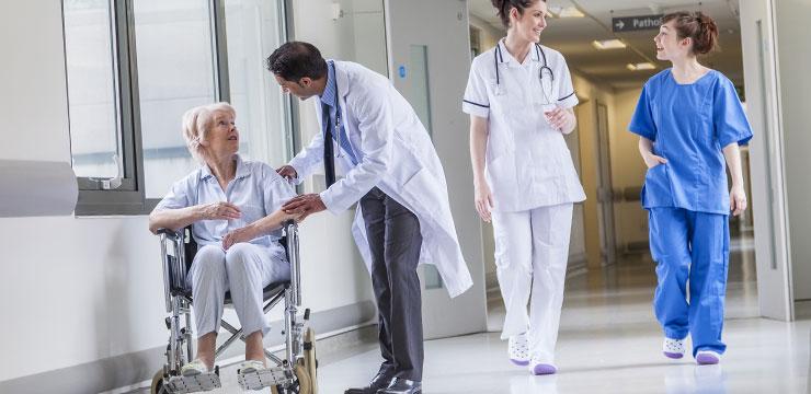 Doctor and patient Patient Nurses walking